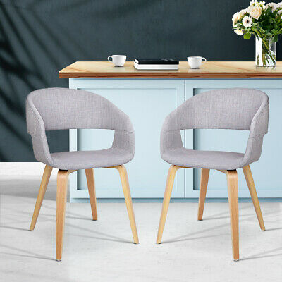 AU159.90 • Buy Artiss 2x EVA Dining Chairs Bentwood Wooden Chair Kitchen Cafe Fabric Light Grey