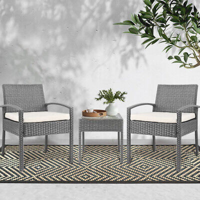 AU212.90 • Buy Gardeon 3 Piece Wicker Outdoor Lounge Setting Patio Furniture Rattan Set Garden