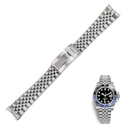 $ CDN35.39 • Buy 20mm Silver Solid Curved Steel Watch Band Jubilee Oyster Clasp For GMT Master II