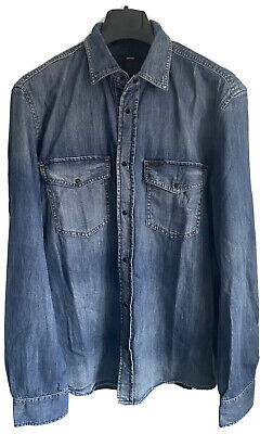 Diesel Men Slim Fit Denim Shirt Blue New With Tag Size. Xlarge • 55£