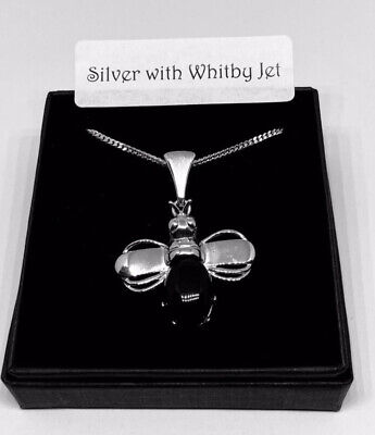 Whitby Jet Bee Pendant, With Sterling Silver 18 Inch Heavy Curb Chain • 54£