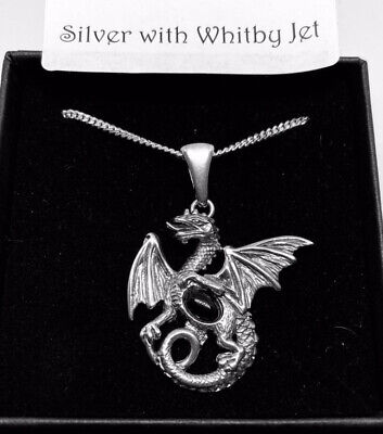 Whitby Jet Dragon Pendant, With Sterling Silver 18 Inch Heavy Curb Chain • 58£