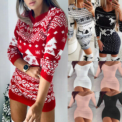 Women Christmas Knitted Mini Dress Ladies Xmas Party Wrap Jumper Bodycon Dresses • 14.99£