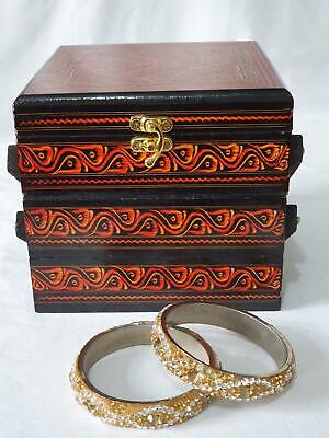 Handmade Hand Carved Wooden Jewellery Box Storage Case Organiser Unit Chest RED • 19.98£