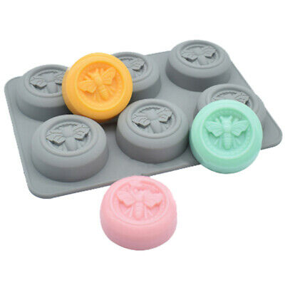 6 Cell ROUND Honey Bee Silicone Baking Soap Mould Wax Beeswax Candle Cake Mold • 5.99£
