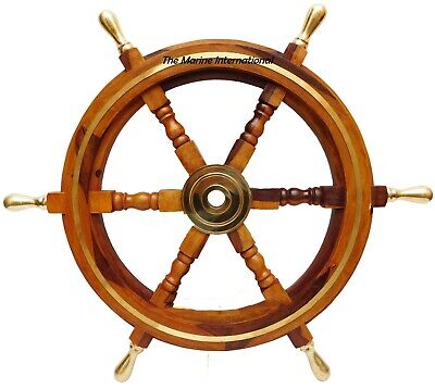 Wooden 24 Nautical Ship Steering Wheel Pirate Decor Wood Brass Fishing Wall Boat • 44£