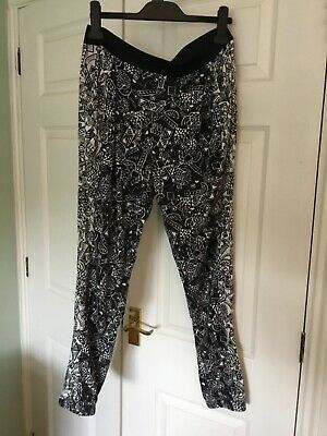 Funky Top Shop Black White Leggings Trousers Size 12 Elasticated Waist And Ankle • 4£