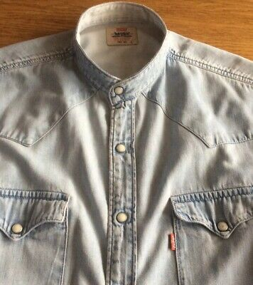 Mens Vintage Batwing Denim Grandad Shirt By Levis      17.5     Collar.   L • 4.99£