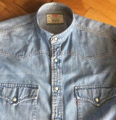 Mens Vintage Batwing Denim Grandad Shirt By Levis      18.5     Collar.   Xl • 4.99£