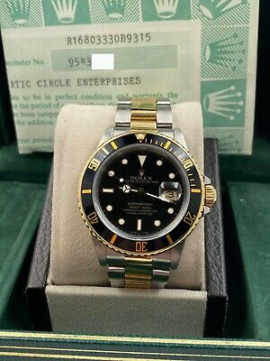 $ CDN11889.36 • Buy Rolex Submariner 16803 Black Dial 18K Yellow Gold Stainless Steel Box Papers
