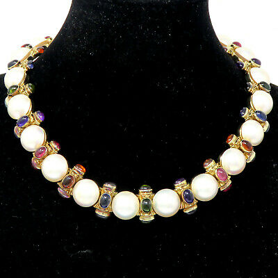 $3999 • Buy NYJEWEL 14k Yellow Gold Multi Color Gemstone Mabe Pearl 19mm Wide Heavy Necklace