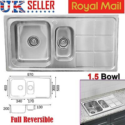 Double 1.5 BOWL STAINLESS STEEL KITCHEN SINK & DRAINER PLUMBING & WASTE KIT NEW • 78.95£