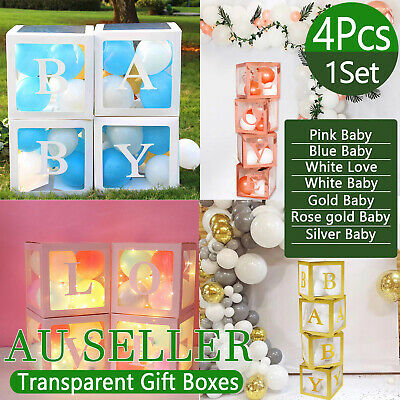 AU25.59 • Buy 4Pcs/Set LOVE BABY Balloons Box Cube Clear Gift Boxes Birthday Baby Shower Party