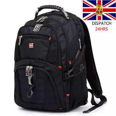 Swiss 17IN Black Waterproof Gear Men Travel Bags Macbook Laptop Hike Backpack • 35.20£