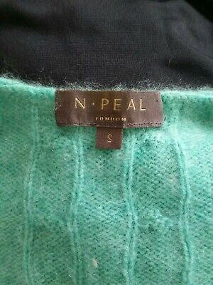 N Peal 100% Cashmere Jade Green Cable Knit V Neck Jumper S • 40£