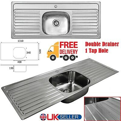 Stainless Steel Double Drainer 1 Bowl Inset Kitchen Sink 1 Tap Hole 1310 X 500mm • 165.95£