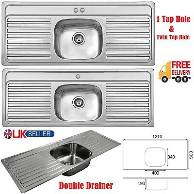 Single Bowl Stainless Steel Double Drainer Inset Kitchen Sink 1 & Twin Tap Hole • 195.75£