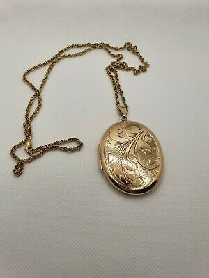 Large 9ct Gold Locket With Chain 1989 Birmingham Assay • 295£