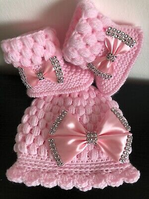Hand Knitted Romany Bling Baby Girl Crochet Hat And Booties- 0-3 Months • 8.50£