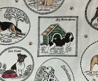 £32.99 • Buy Dogs Woven Fabric Sold By Meter Upholstery Beige Best In Show Bulldog Labrador