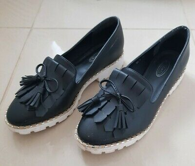 Womens Ladies Flat Creeper Chunky Sole Work Loafers Shoe Size 7.5 • 1.99£