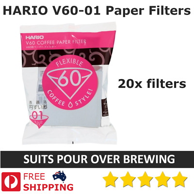 AU8.95 • Buy  20x HARIO V60 (1-2) V60-01 White Paper Filters Coffee Dripper Pour Cone Brewing