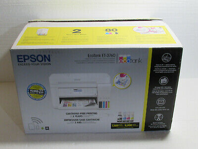View Details Epson EcoTank ET-3760 All-in-One Supertank Printer, Page Count 100 Or Less • 250.00$
