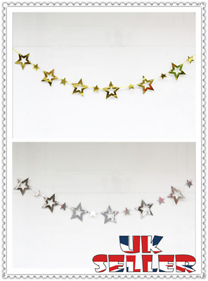 UK Paper Star Garland Buntings Wedding Party Birthday Banner Hanging Decor • 2.45£