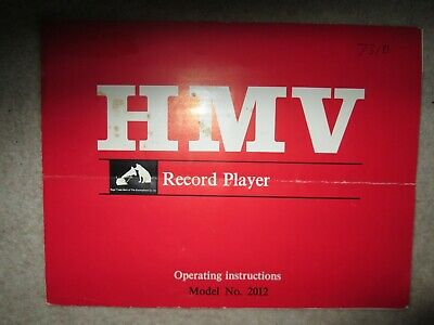 Hmv Record Player Operating Instructions For Model No. 2012 • 4.95£