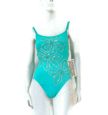 AU35.20 • Buy DeWeese Original Turquoise Maillot Style Hand Painted Flowers 1 Pc Size 10 #486