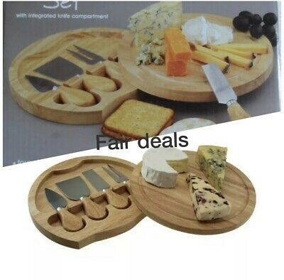 Cheese Serving Set, Integrated Knife Compartment, Round Wood Board Box, 4 Knifes • 12.49£