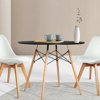 AU107.90 • Buy Artiss 4 Seater Round Dining Table Kitchen Cafe Replica Timber Wooden Black 90cm