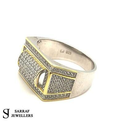 £39.90 • Buy 925 Genuine Sterling Silver GOLD PLATED Men's PINKY RING BAND ICE CZ ALL SIZES