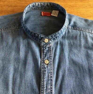 Mens Super Denim Grandad Shirt By Levis.        21.   Collar.   Xxl • 4.99£