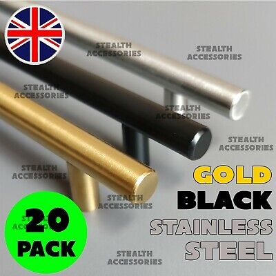 20 X Brushed Steel Or Black T Bar Handles Kitchen Cabinet Door Cupboard Drawer • 12.99£