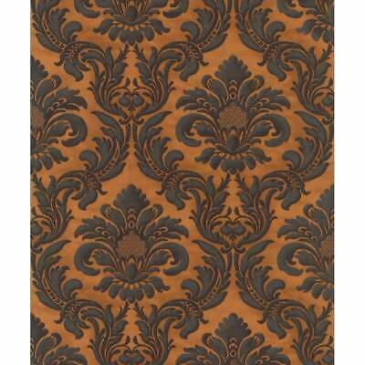 515046 Damask Copper & Black Contemporary Gregorian Style Bold Damask Wallpaper • 22.99£