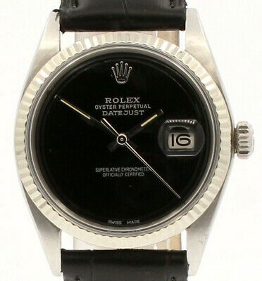 $ CDN5906.03 • Buy Mens Vintage ROLEX Oyster Perpetual Datejust 36mm BLACK Dial Watch