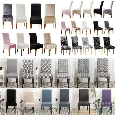 Velvet Dining Chair Seat Covers Spandex Slip Banquet Home Protective Stretch UK • 4.54£