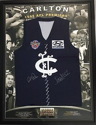 AU899 • Buy KERNAHAN & PARKIN Signed Jumper AFL Premiers 1995 Carlton Blues Framed COA