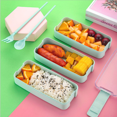 3 Compartments Lunch Bento Box Storage Spoon Fork For Kids Adults Food Container • 6.56£