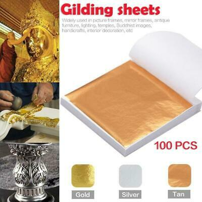 200 Sheets Gold Silver Foil Leaf Paper Home Wall Art Gilding Crafting DIY Decor • 4.99£