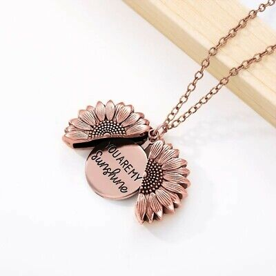 AU14.90 • Buy Vintage Rose Gold You Are My Sunshine Daisy Flower Pendant Locket Chain Necklace