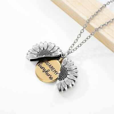 AU14.90 • Buy Silver & Gold  You Are My Sunshine  Daisy Flower Pendant Locket Chain Necklace