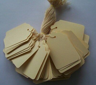 100 Cream Strung Labels 69mm X 44mm Swing Tickets Price Tags • 2.30£