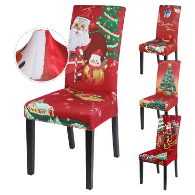 4/6X Dining Chair Seat Covers Christmas Party Removable Decor Slip Stretch Xmas • 15.39£