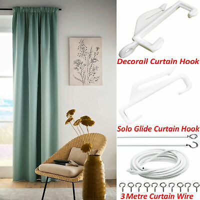 £2.99 • Buy Curtain ACCESSORIES New Gliders Hooks Wire White Decorail Track Runner Home UK