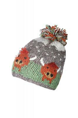 Sustainable Fair Trade Herd Of Highland Cow Natural Wool Bobble Beanie Hat  • 19.95£