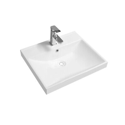 Thick-Edge Ceramic 51cm Inset Basin With Scooped Full Bowl • 69.99£