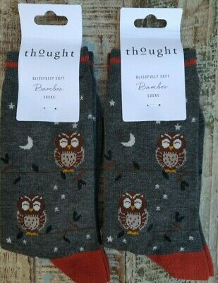 Thought Owl Socks Set Of 2 Pairs Bamboo Organic Cotton Fairtrade Womens Size • 12.95£