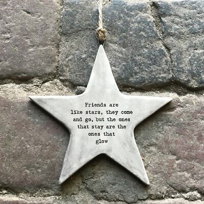 East Of India FRIENDS ARE LIKE STARS Rustic Porcelain Hanging Star NEW 2020 • 5.75£